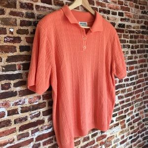 Vintage Knit Sweater Peach Short Sleeve